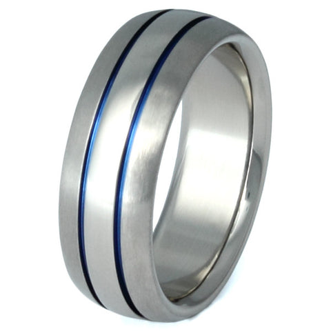 thin blue line titanium ring b4 Titanium Wedding and Engagement Rings