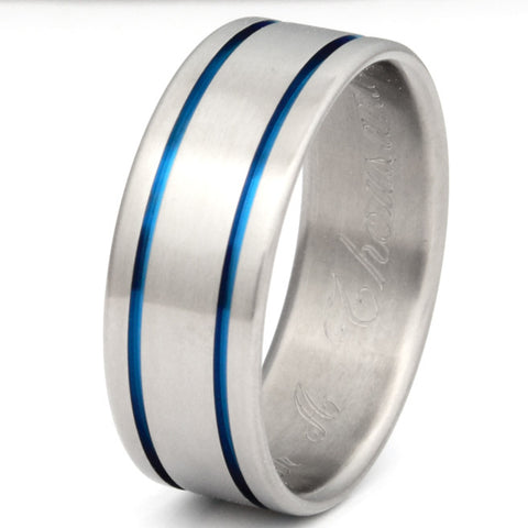 blue titanium promise ring b5 Titanium Wedding and Engagement Rings