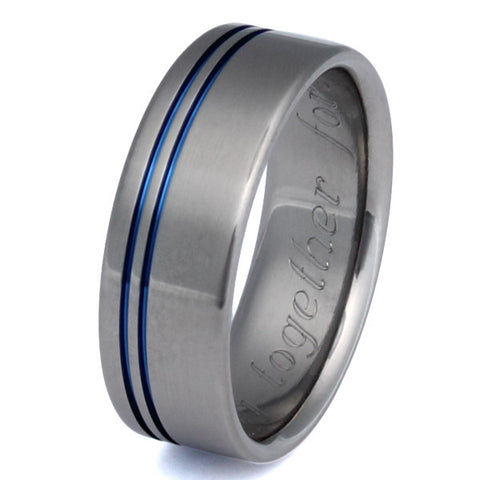 blue titanium promise ring b8 Titanium Wedding and Engagement Rings
