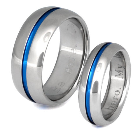 blue titanium ring set stb22 Titanium Wedding and Engagement Rings