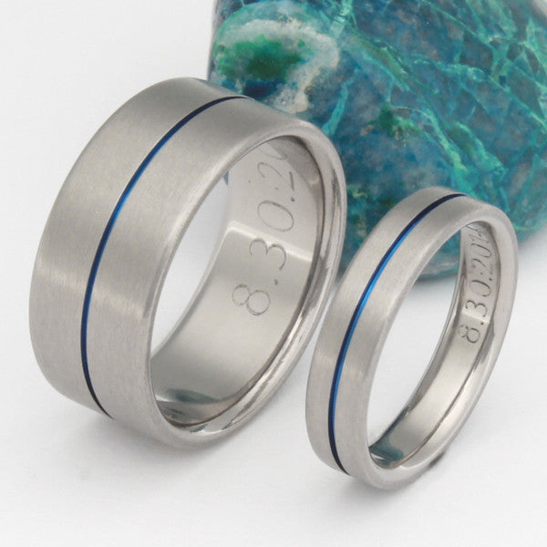 Blue Titanium Ring Set Stb34 Wedding And Engagement Rings