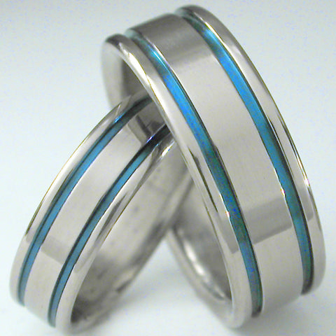 matching blue titanium wedding band set stb5 Titanium Wedding and Engagement Rings