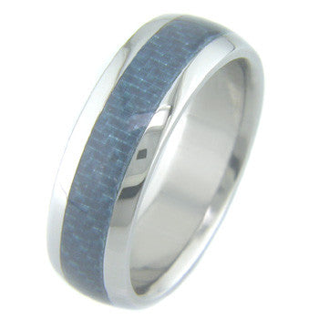 Boone Blue Carbon Fiber Titanium Ring