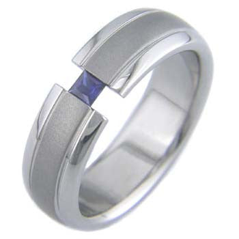 accents with princess Titanium Wedding and Engagement Rings