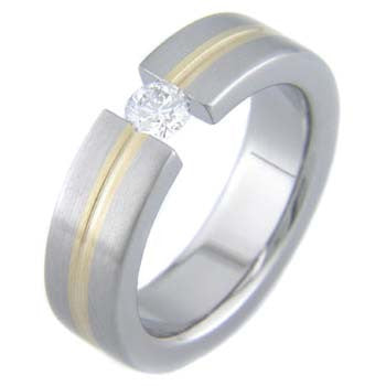 classic flat with gold Titanium Wedding and Engagement Rings