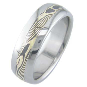 gold shakudo twist mokume Titanium Wedding and Engagement Rings