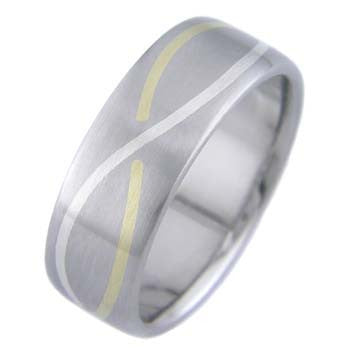 Boone Infinity Titanium Ring with Gold and Platinum