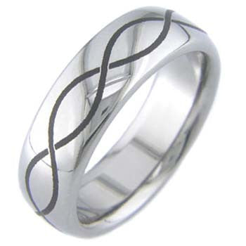 laser infinity Titanium Wedding and Engagement Rings