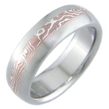 copper and silver mokume titanium wedding ring Titanium Wedding and Engagement Rings