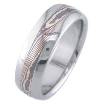 rose gold shakudo twist mokume Titanium Wedding and Engagement Rings