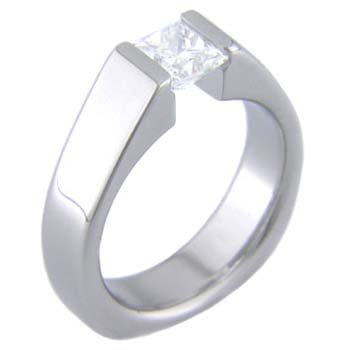 squared back princess Titanium Wedding and Engagement Rings