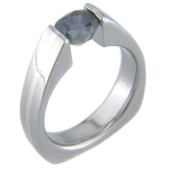 squared back with platinum Titanium Wedding and Engagement Rings