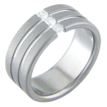 tristone Titanium Wedding and Engagement Rings