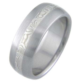 white gold and silver mokume brushed Titanium Wedding and Engagement Rings