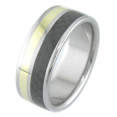 Boone Carbon Fiber with Gold Titanium Ring