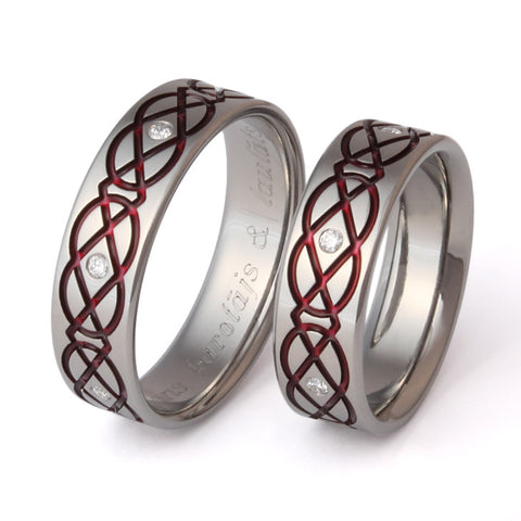 matching celtic titanium ring set stck43 Titanium Wedding and Engagement Rings