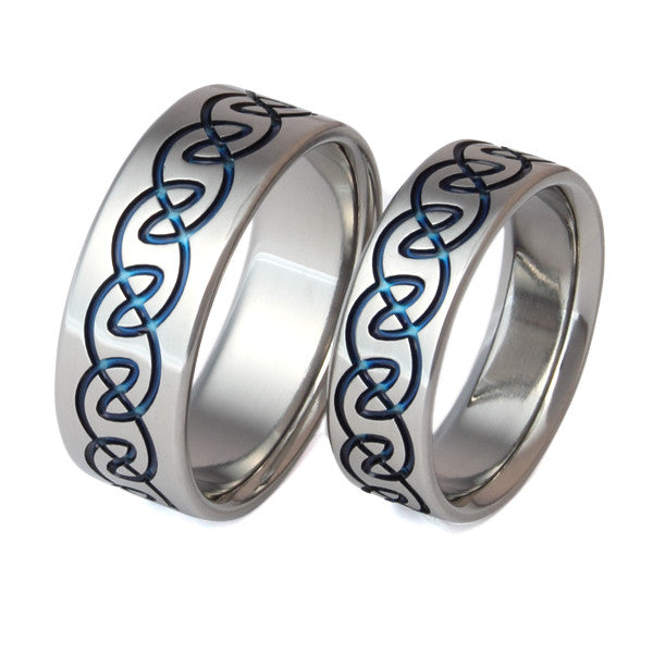 Matching Celtic Titanium Wedding Band Set stck10 Titanium Rings