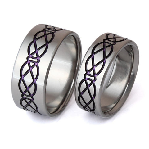 irish celtic titanium ring set stck1purple Titanium Wedding and Engagement Rings