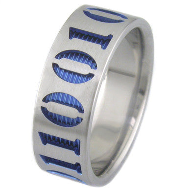 Titanium Laser Engraved Ring - Coder