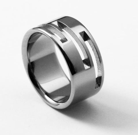 Unique Designer Titanium Wedding Ring - derby