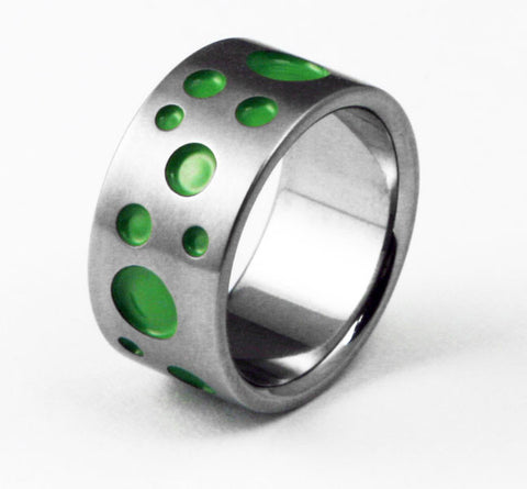 Unique Titanium Designer Wedding Ring polka dot