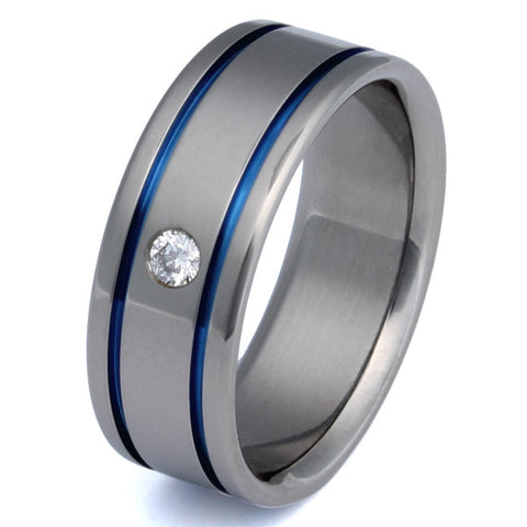 titanium diamond ring with blue inlays s2 Titanium Wedding and Engagement Rings