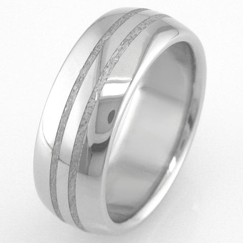 Boone Titanium and Meteorite Ring - Two Stripes