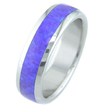 Boone Electric Blue Carbon Fiber Titanium Ring