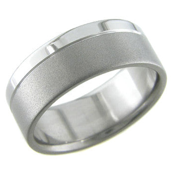 Boone Titanium Ring - Flat with Beadblast and Polish