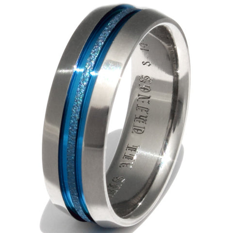 deep hawaiian blue titanium ring b16 Titanium Wedding and Engagement Rings