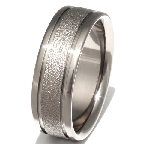 waterfall frost titanium wedding ring f5 Titanium Wedding and Engagement Rings