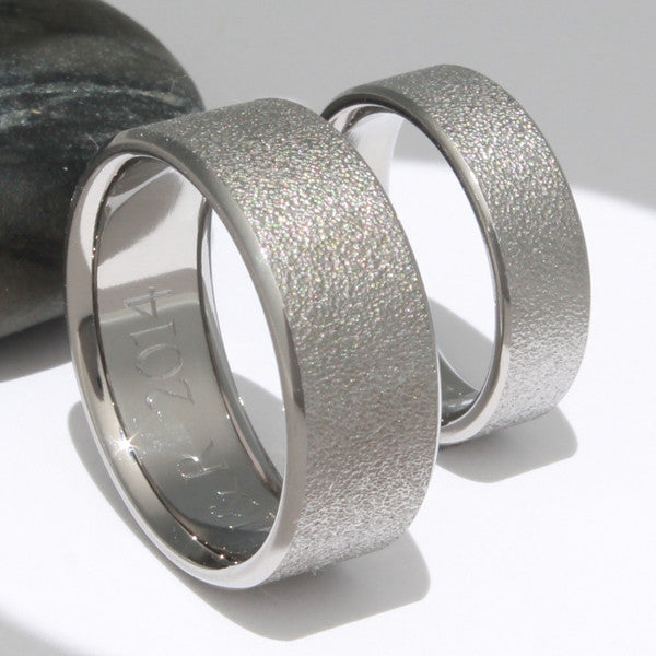 frost titanium wedding set titanium wedding and engagement rings - Titanium Wedding Ring Sets