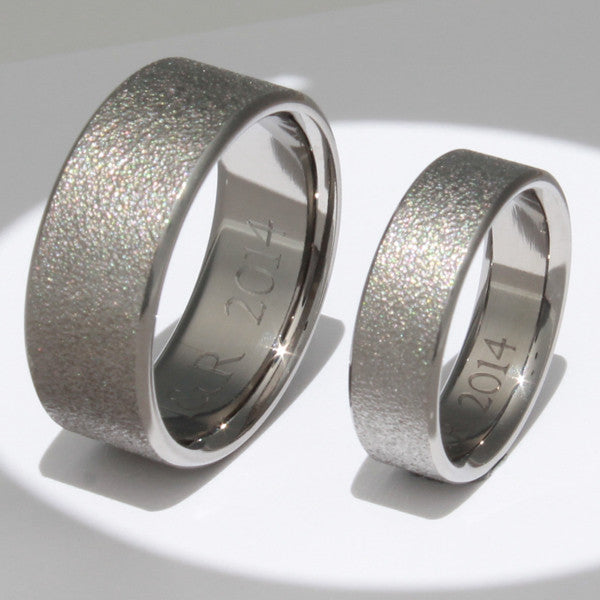 Frost Titanium Wedding Ring Set stn12Frost Titanium Rings Studio