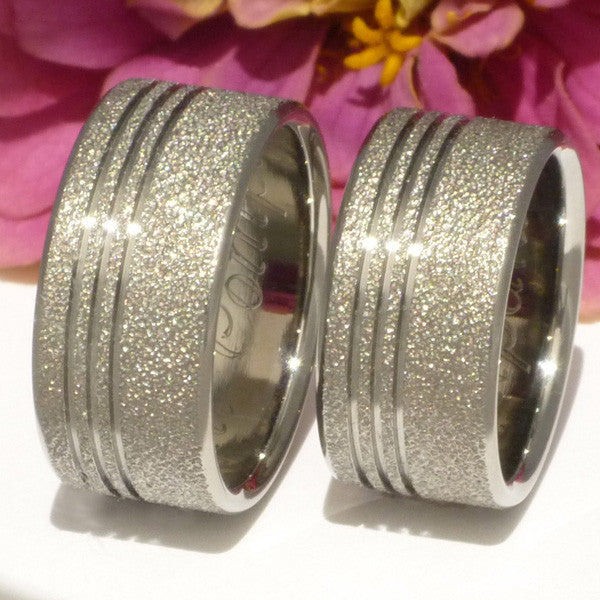 ... Matching Frost Titanium Wedding Ring Set Stf1 Titanium Wedding And Engagement  Rings ...