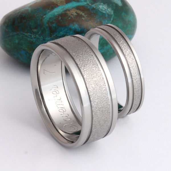 Frost Titanium Wedding Ring Set And Engagement Rings
