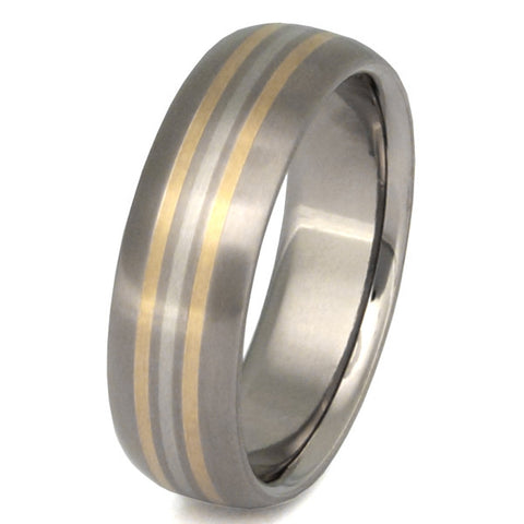 valiant two tone ring m1 Titanium Wedding and Engagement Rings