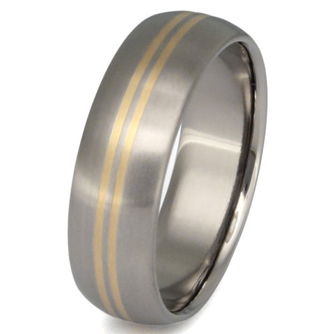 titanium wedding ring with two narrow 18k gold inlays g1 Titanium Wedding and Engagement Rings