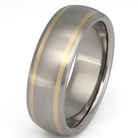 titanium wedding ring with gold inlay g11 Titanium Wedding and Engagement Rings