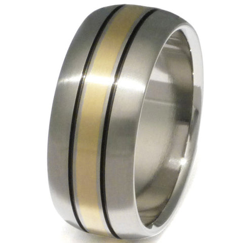 titanium wedding ring with gold inlay g13 Titanium Wedding and Engagement Rings