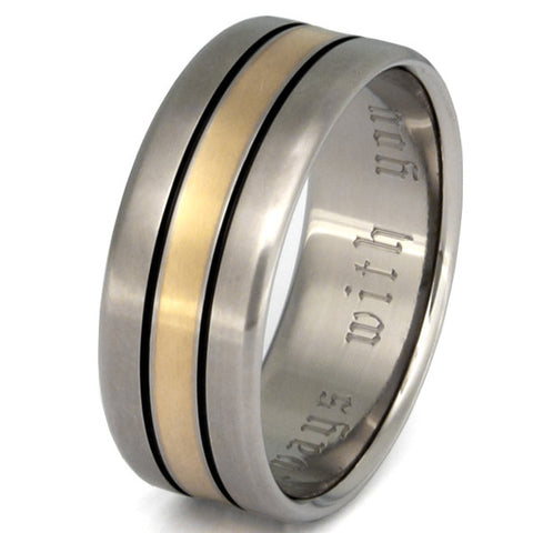 titanium wedding ring with gold inlay g16 Titanium Wedding and Engagement Rings