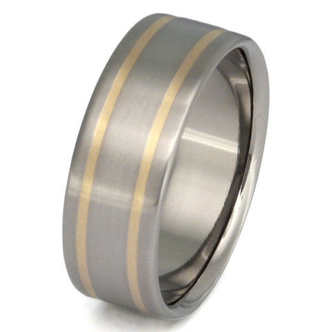 titanium wedding ring with gold inlay g8 Titanium Wedding and Engagement Rings