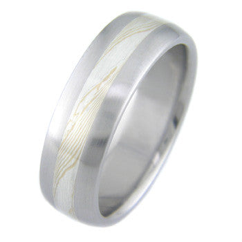 gold and silver twist mokume Titanium Wedding and Engagement Rings
