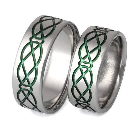 matching celtic titanium wedding band set stck19 Titanium Wedding and Engagement Rings