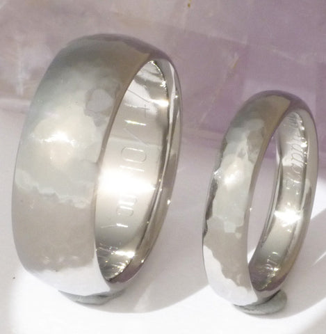 hammered titanium wedding band set Titanium Wedding and Engagement Rings