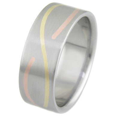 Boone Infinity Titanium Ring with Gold and Rose Gold