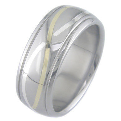 Boone Titanium Ring - Infinity Gold and Silver with  Accents