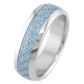 Boone Light Blue Carbon Fiber Titanium Ring
