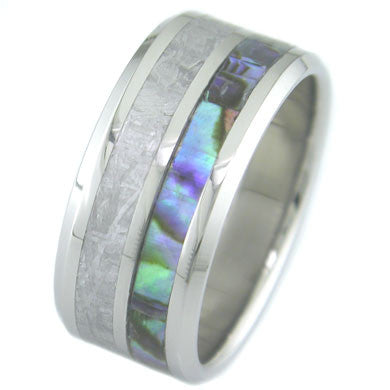 Boone Meteorite and Abalone Titanium Ring