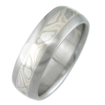 palladium red gold and silver mokume Titanium Wedding and Engagement Rings