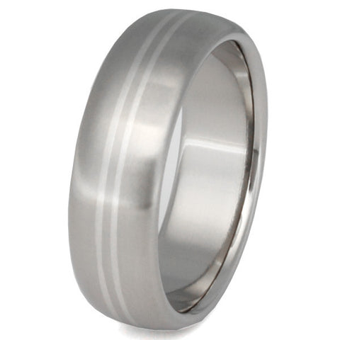 titanium wedding ring with platinum inlays p1 Titanium Wedding and Engagement Rings